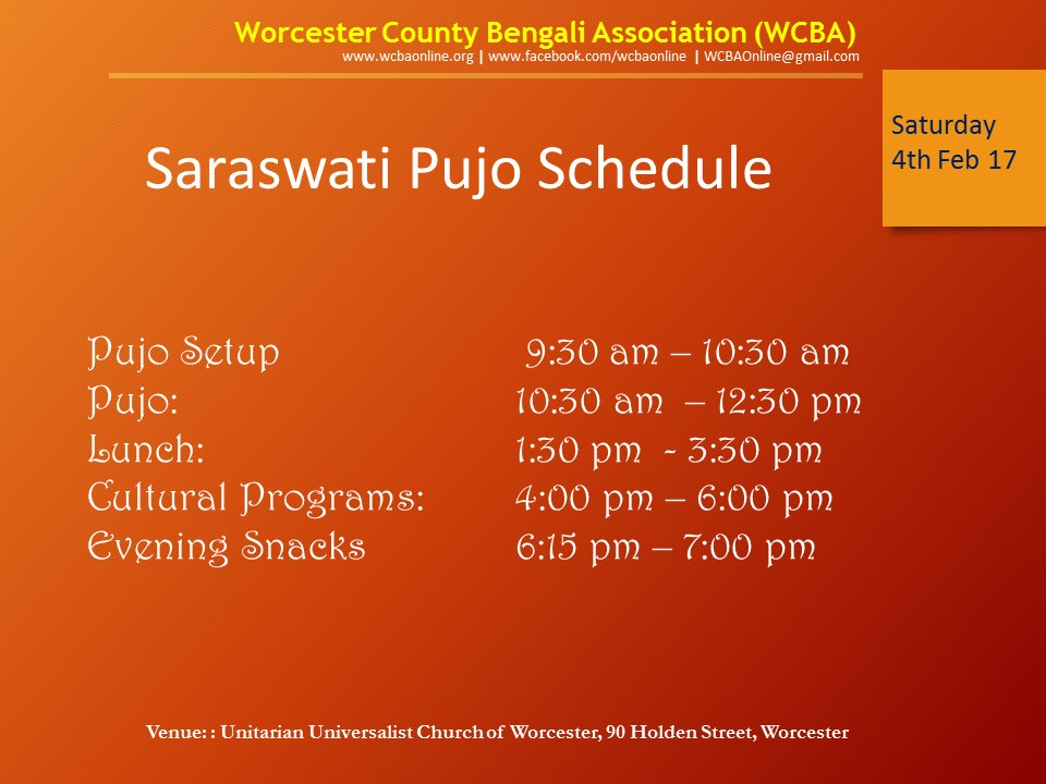Pujo Schedule